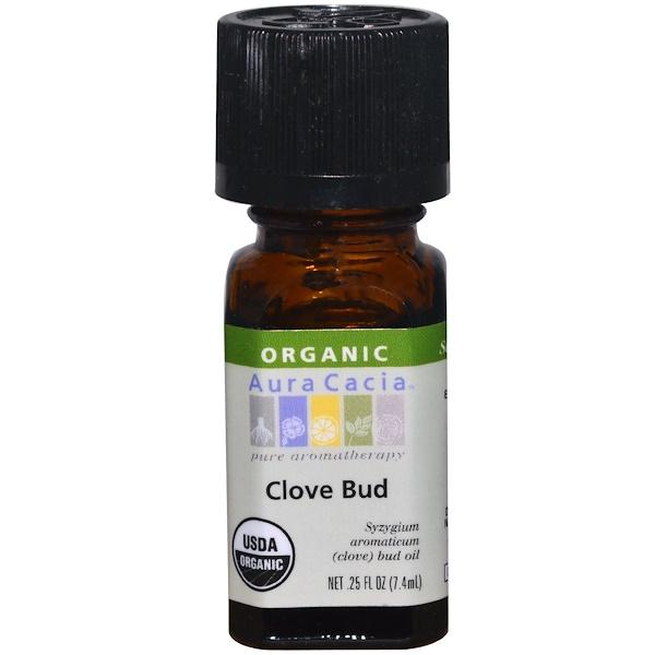 Aura Cacia, Органическое масло из цветов гвоздичного дерева, 0,25 ж. унц. (7,4 мл)