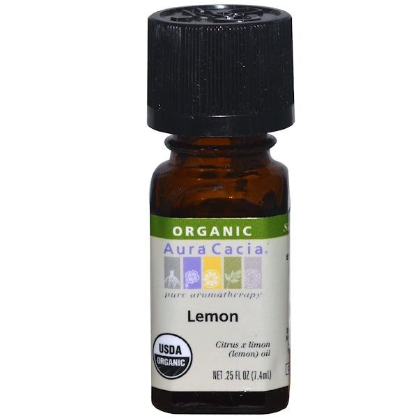 Aura Cacia, 有機,檸檬,0、25液體盎司(7、4毫升)