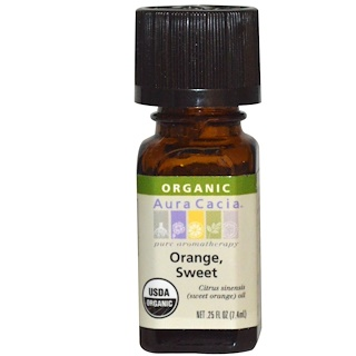Aura Cacia, Organic, Orange, Sweet, .25 fl oz (7.4 ml)