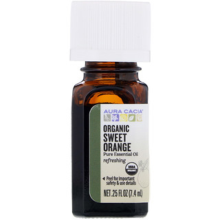 Aura Cacia, Organic, Sweet Orange, .25 fl oz (7.4 ml)
