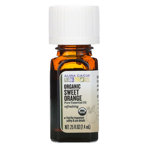 Pure Essential Oil, Organic Sweet Orange, .25 fl oz (7.4 ml)