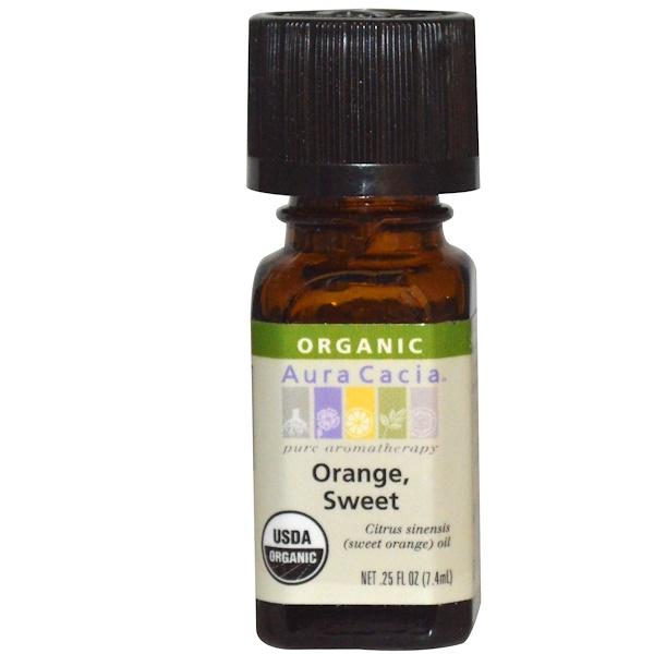 Aura Cacia, Organic, Orange, Sweet, .25 fl oz (7.4 ml)
