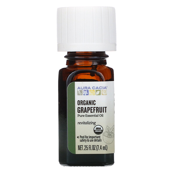 Pure Essential Oil, Organic Grapefruit, .25 fl oz (7.4 ml)