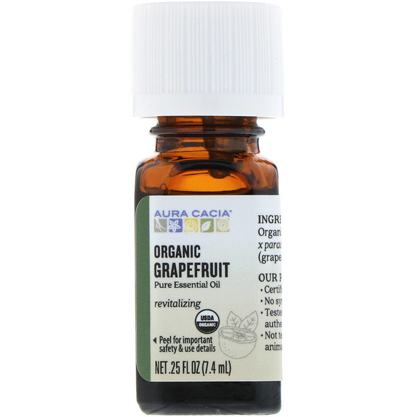 Aura Cacia, Organic, Grapefruit, 0.25 fl oz (7.4 ml)