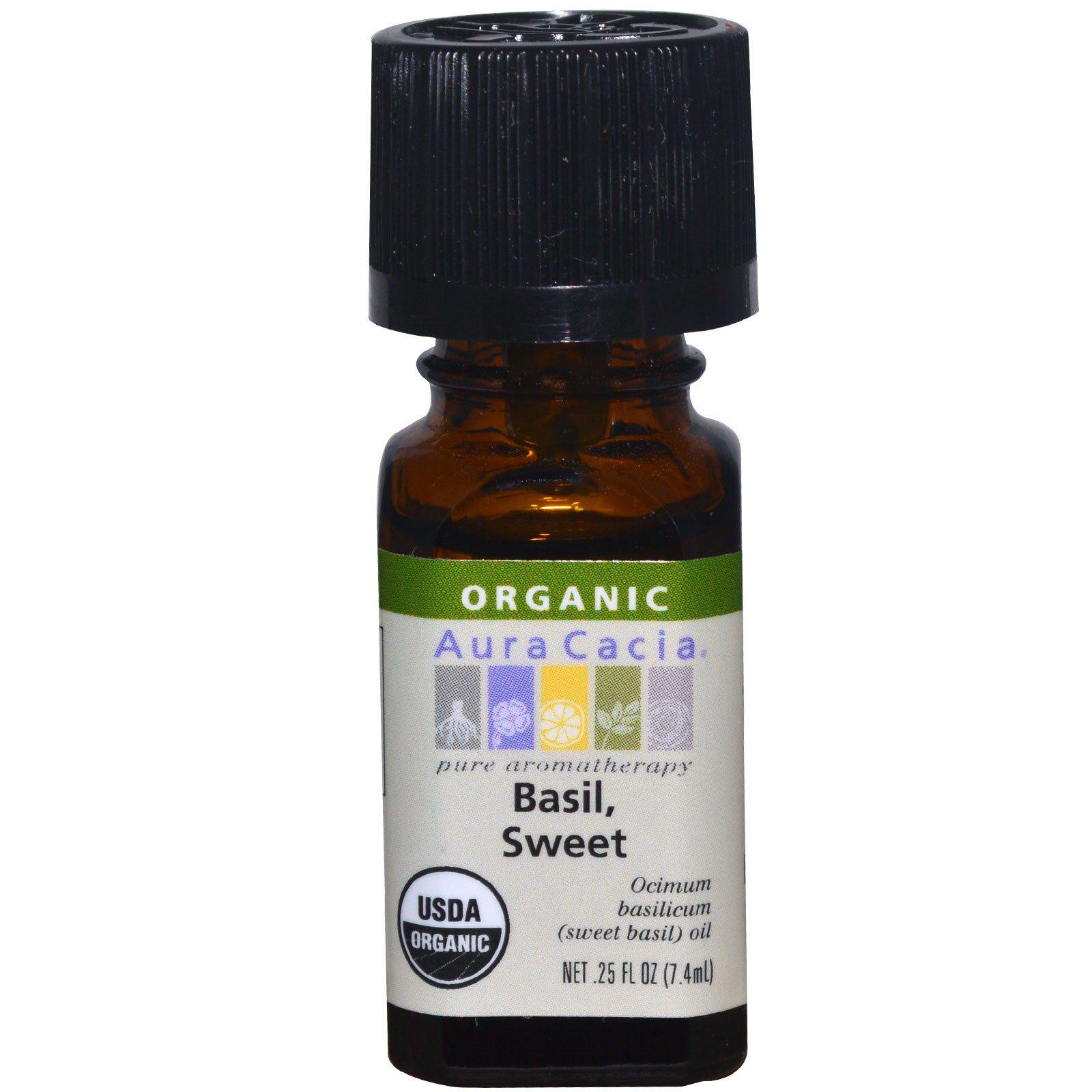 Aura Cacia Organic Basil Sweet 25 Fl Oz 7 4 Ml Iherb
