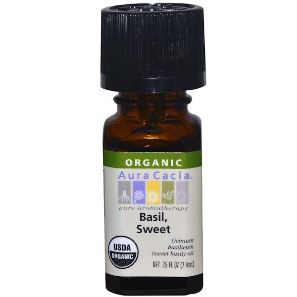 Aura Cacia, Organic, Basil, Sweet, .25 fl oz (7.4 ml) (Discontinued Item)