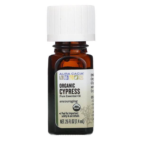 Aura Cacia, Pure Essential Oil, Organic Cypress, .25 fl oz (7.4 ml)