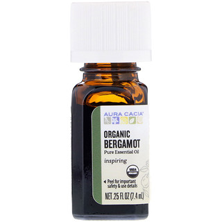 Aura Cacia, Pure Essential Oil, Organic Bergamot, .25 fl oz (7.4 ml)