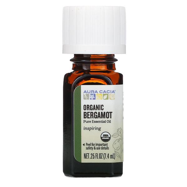 Pure Essential Oil, Organic Bergamot, .25 fl oz (7.4 ml)