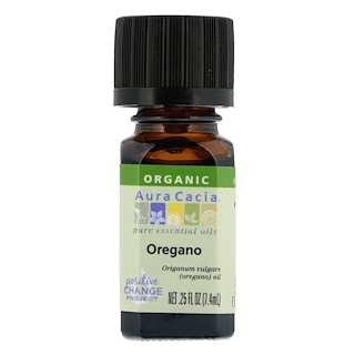 Aura Cacia, Orgánico, Orégano, .25 fl oz (7.4 ml)