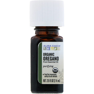 Aura Cacia, Pure Essential Oil, Organic Oregano, .25 fl oz (7.4 ml)