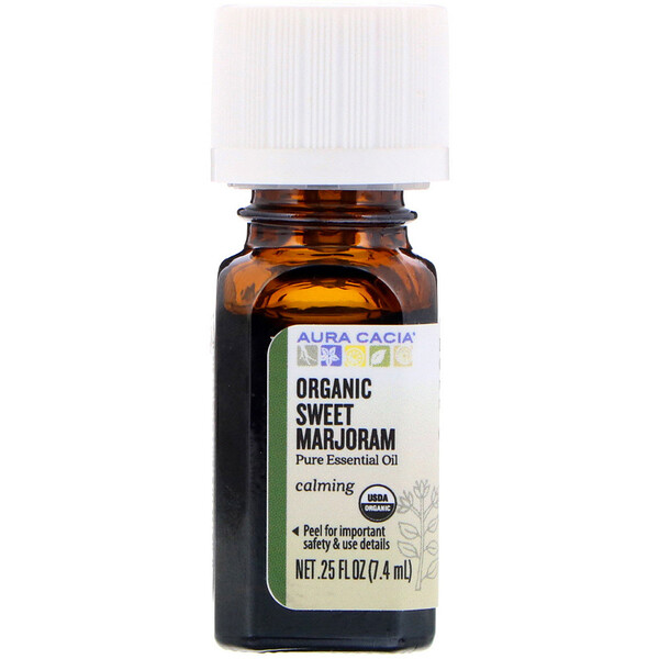 Aura Cacia, Pure Essential Oil, Organic Sweet Marjoram, 0.25 fl oz (7.4 ml)
