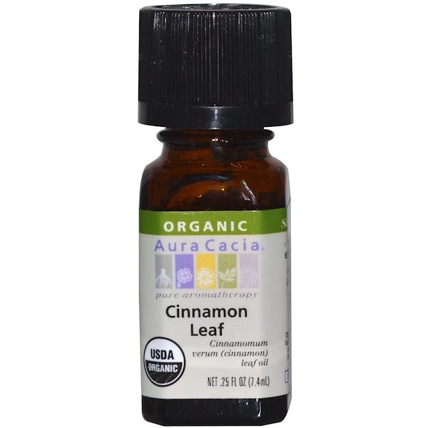 Aura Cacia, オーガニック、 シナモン の葉、 .25 fl oz (7.4 ml)