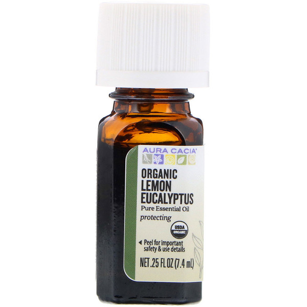 Aura Cacia, Pure Essential Oil, Organic Lemon Eucalyptus, .25 fl oz (7.4 ml) (Discontinued Item)
