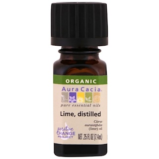 Aura Cacia, Organic, 100% Pure Essential Oil, Lime, Distilled, .25 fl oz (7.4 ml)