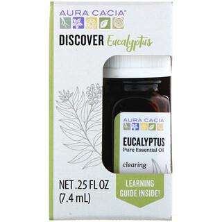 Aura Cacia, 디스커버 유칼립투스, 퓨어 에센셜 오일, 7.4ml(0.25fl oz)