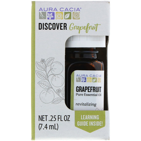 Aura Cacia, Discover Grapefruit, Pure Essential Oil, .25 fl oz (7.4 ml) (Discontinued Item)