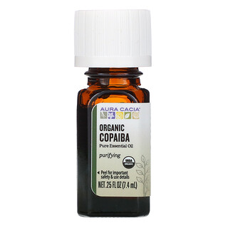 Aura Cacia, Pure Essential Oil, Organic Copaiba, 0.25 fl oz (7.4 ml)