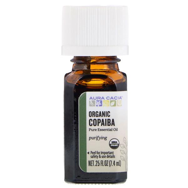 Aura Cacia, Pure Essential Oil, Organic Copaiba, 、25 fl oz (7、4 ml)