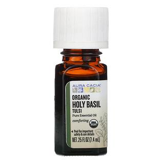 Aura Cacia, Pure Essential Oil, Organic Holy Basil Tulsi, 0.25 fl oz (7.4 ml)