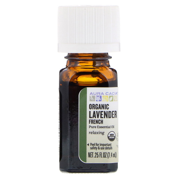 Pure Essential Oil, Organic French Lavender, .25 fl oz (7.4 ml)