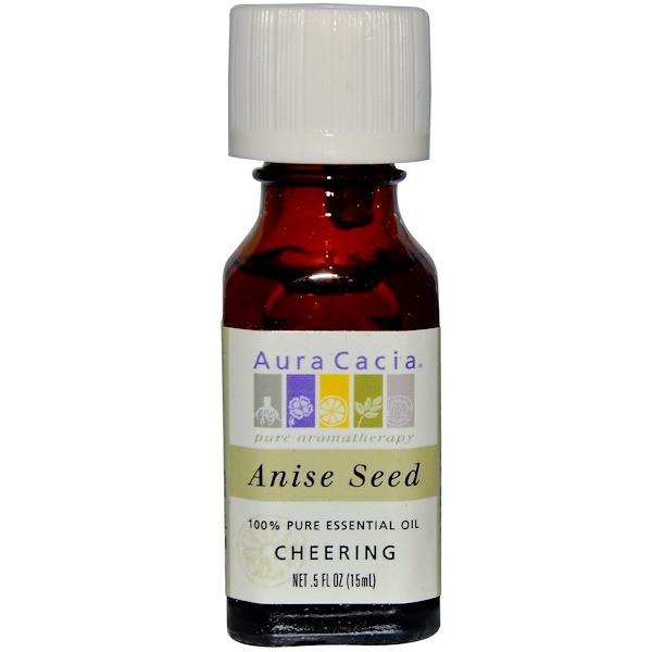 Aura Cacia, 100% Pure Essential Oil, Anise Seed, Cheering, .5 fl oz (15 ml) (Discontinued Item)