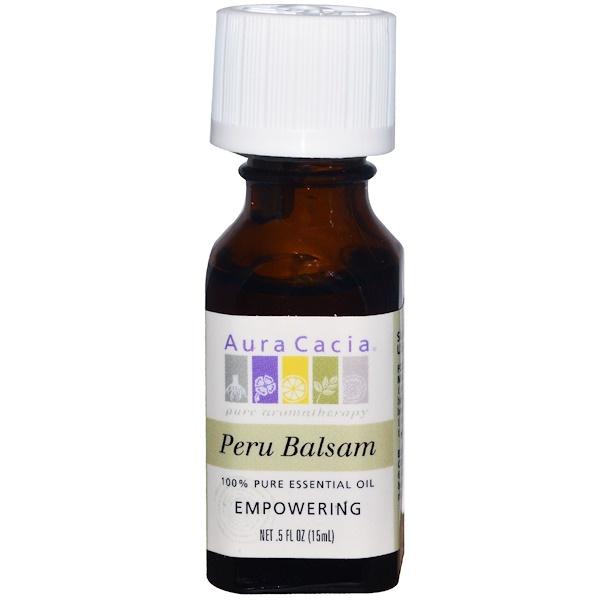 Aura Cacia, 100%-ное чистое эфирное масло, перуанский бальзам, 0,5 жидких унций (15 мл) (Discontinued Item)