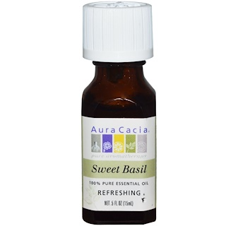 Aura Cacia, 100% Pure Essential Oil, Sweet Basil, Refreshing, .5 fl oz (15 ml)
