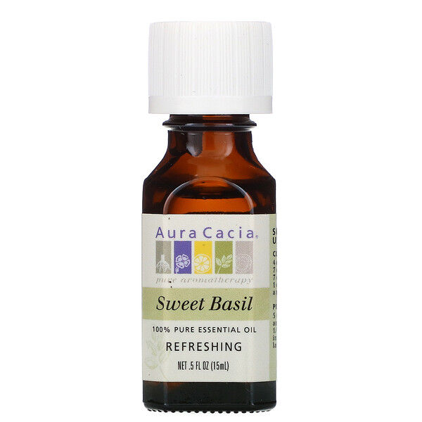 Aura Cacia, 100% Pure Essential Oil, Sweet Basil, .5 fl oz (15 ml) (Discontinued Item)