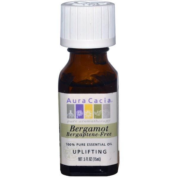 Aura Cacia, ベルガモット、 ベルガプテン不使用、 アップリフティング、 .5 fl oz (15 ml) (Discontinued Item)