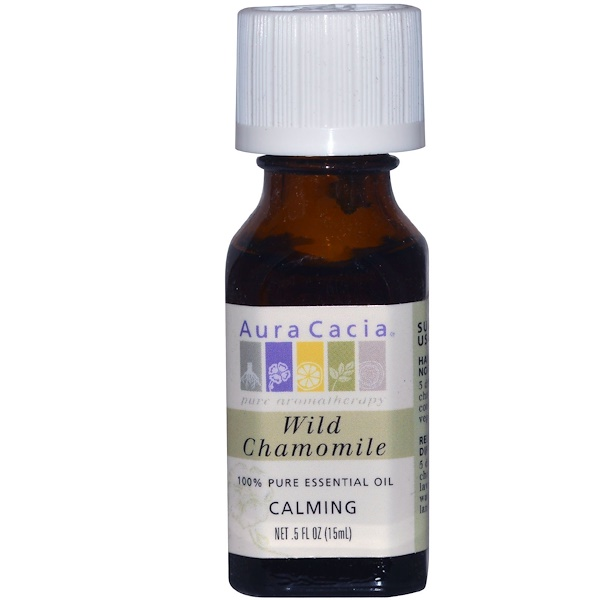 Aura Cacia, 100%-ное чистое эфирное масло, дикая ромашка, 0,5 жидких унций (15 мл) (Discontinued Item)