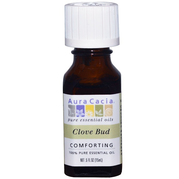 Aura Cacia, 100% Pure Essential Oil, Clove Bud, .5 fl oz (15 ml)