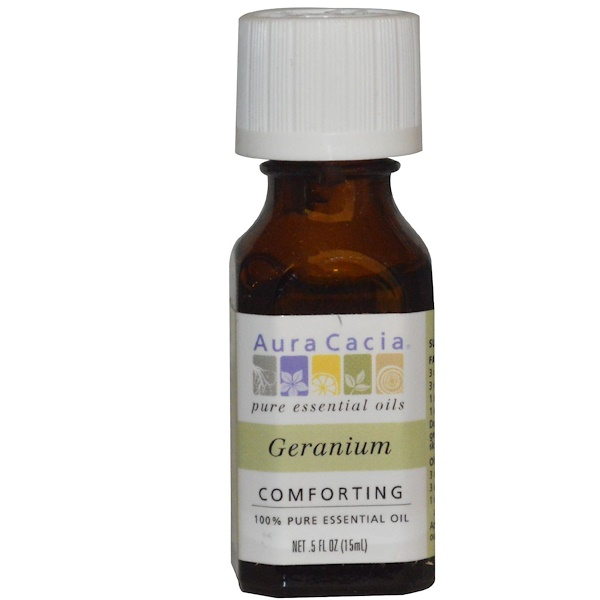 Aura Cacia, 100% Pure Essential Oil, Geranium, .5 fl oz (15 ml)
