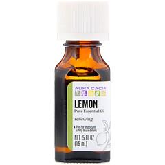Aura Cacia, 純精油,檸檬,0.5 液量盎司(15 毫升)