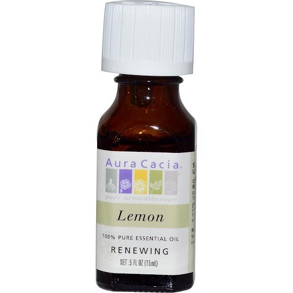 Aura Cacia, 100% чистое эфирное масло, лимон, 0,5 жидких унций (15 мл)