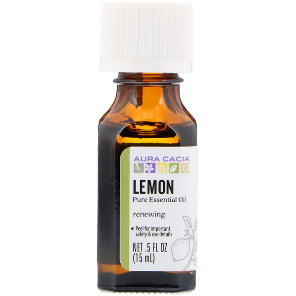Aura Cacia, Pure Essential Oil, Lemon, .5 fl oz (15 ml)