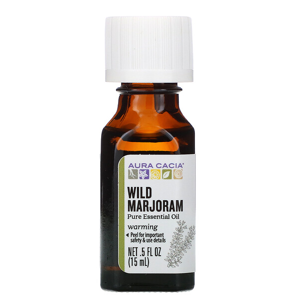 Aura Cacia, Pure Essential Oil, Wild Marjoram, .5 fl oz (15 ml)