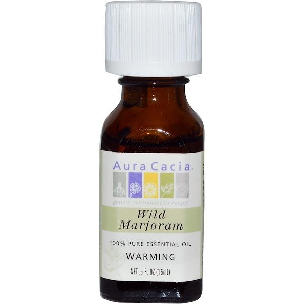 Aura Cacia, 100% Pure Essential Oil, Wild Marjoram, .5 fl oz (15 ml)