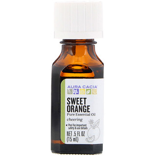Aura Cacia, Pure Essential Oil, Sweet Orange, .5 fl oz (15 ml)