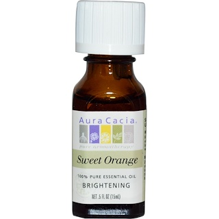 Aura Cacia, 100% Pure Essential Oil, Sweet Orange, .5 fl oz (15 ml)