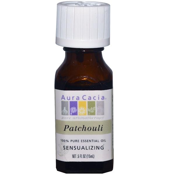 Aura Cacia, زيت عطري نقي 100%، الباتشولي، 5 أوقيات سائلة (15 مل)