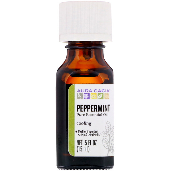 Aura Cacia, Pure Essential Oil, Peppermint, .5 fl oz (15 ml)