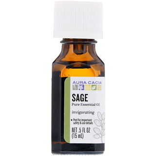 Aura Cacia, Pure Essential Oil, Sage, .5 fl oz (15 ml)