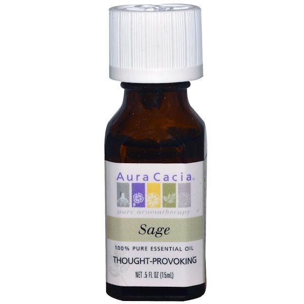 Aura Cacia, 100% 純正精油,鼠尾草,0、5 液體盎司(15 毫升)