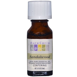 Aura Cacia, 100% Pure Essential Oil, Sandalwood, .5 fl oz (15 ml)
