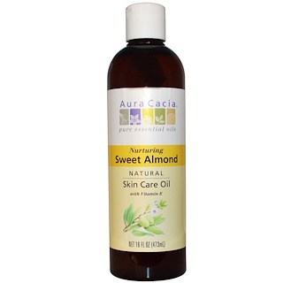 Aura Cacia, Natural Skin Care Oil, with Vitamin E, Nurturing Sweet Almond, 16 fl oz (473 ml)