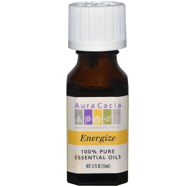 Aura Cacia, 100% Pure Essential Oils, Energize, .5 fl oz (15 ml) (Discontinued Item)