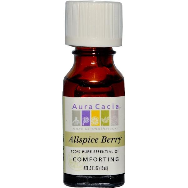 Aura Cacia, 100% Pure Essential Oil, Allspice Berry, Comforting, 0.5 fl oz (15 ml) (Discontinued Item)