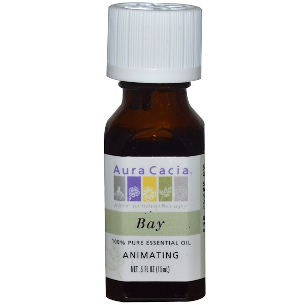 Aura Cacia, 100% Pure Essential Oil, Bay, Animating, .5 fl oz (15 ml) (Discontinued Item)
