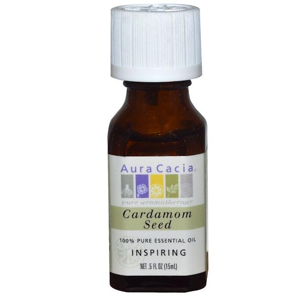 Aura Cacia, 100% Pure Essential Oil, Cardamom Seed, Inspiring, .5 fl oz (15 ml) (Discontinued Item)